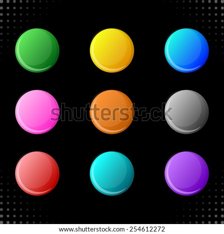 Vector round web buttons isolated on black background - stock vector