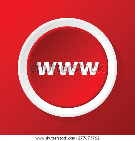 Vector round white icon with text WWW, on red background - stock vector
