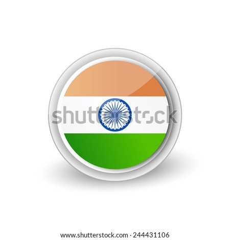 Vector rounded flag button icon of India