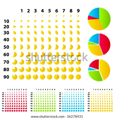 vector rounded graphs - stock vector