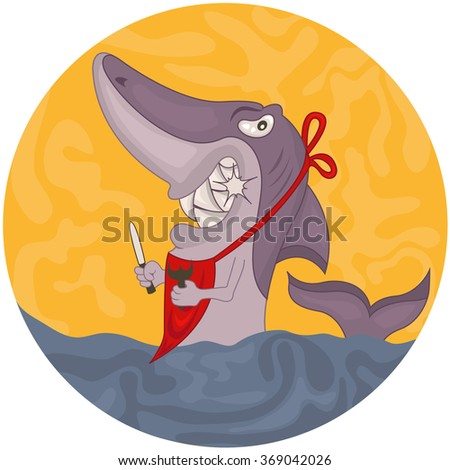 Vector rounded illustration of a cartoon hungry shark on the water. - stock vector