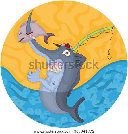 Vector rounded illustration of a cartoon swordfish with a fish rod. - stock vector