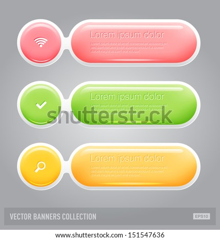 Vector rounded soft glossy plastic banners - stock vector