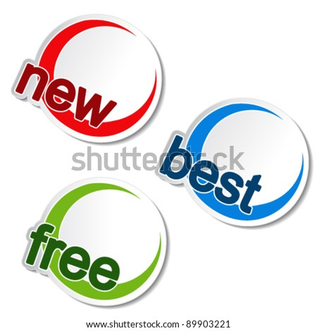Vector rounded stickers - new, best, free