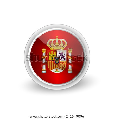 Vector rounded waving button icon of Coat of arms of Spain (state emblem, national emblem) 2 - stock vector