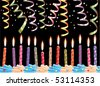 vector row of birthday candles on cake and streamers - stock vector