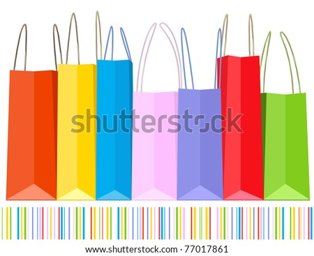 Vector row of shopping bags and striped pattern. - stock vector