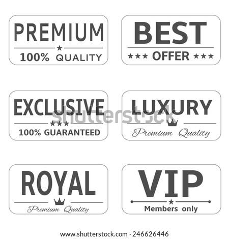Vector royal luxury premium vip exclusive label set - stock vector