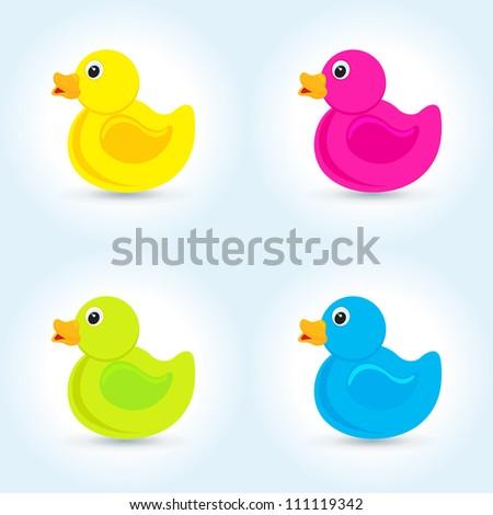 Vector rubber 4 color duck - stock vector