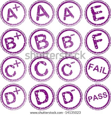 vector. rubber stamp for school grades - stock vector