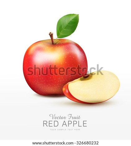 vector ruddy apple with apple slices, isolated on a white background - stock vector