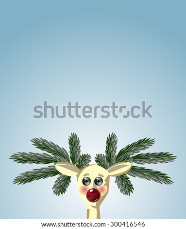 Vector Ruddy Christmas Deer with ?omic Horns made of Fir Branches and Red Christmas Decorations Nose - stock vector