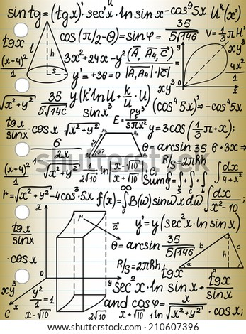 Vector ruled sheet of copybook paper with handwritten mathematical calculations