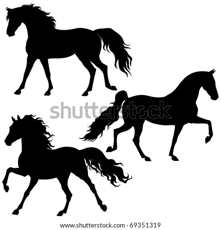 vector running horses isolated on a white background - stock vector