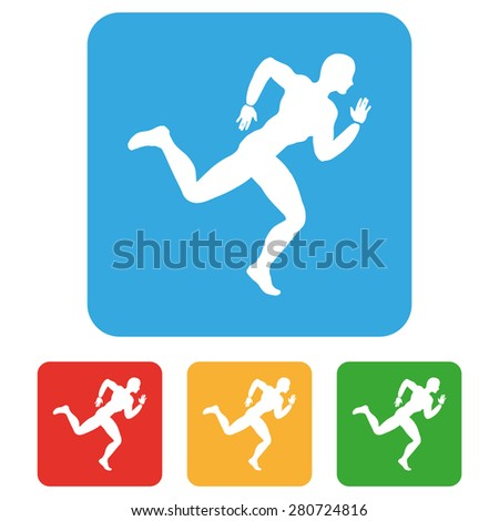 Vector running icons set. Summer sports symbol collection.