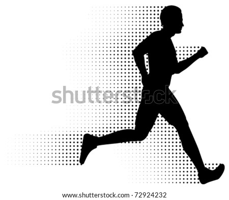 Vector Running Man & Halftone Trail. Silhouette of a healthy man running at great speed with an abstract halftone trail following behind him.  Black and white illustration (gradient free). - stock vector