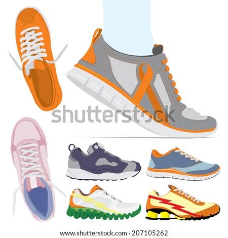Vector running shoes - sneakers set - stock vector