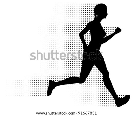 Vector Running Woman & Halftone Trail. Silhouette of a healthy woman running at great speed with an abstract halftone trail following behind her. Black and white illustration (gradient free).
