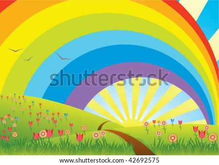 vector rural landscape with rainbow