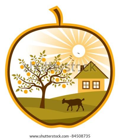 vector rural scene in apple on white background - stock vector