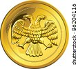 vector Russian money ruble coin gold with double-headed eagle, isolated on white background - stock vector