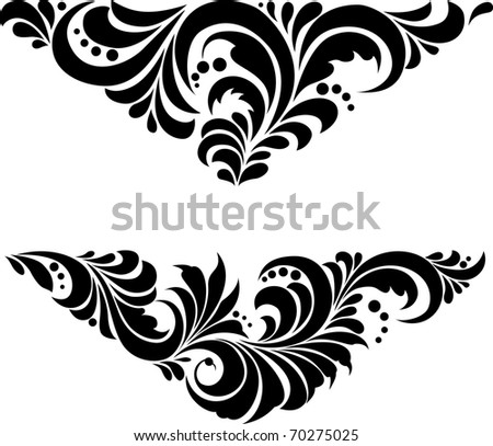 "Vector. Russian traditional ornament ""Hohloma"". Ornament in a triangle - stock vector"