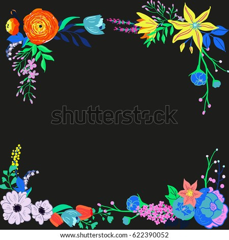 Vector Rustic Flowers Composition Bright Spring Bouquet Hand Drawn Vibrant For Wedding