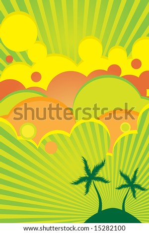 Vector - 70s retro colorful summer party poster with beach theme. - stock vector