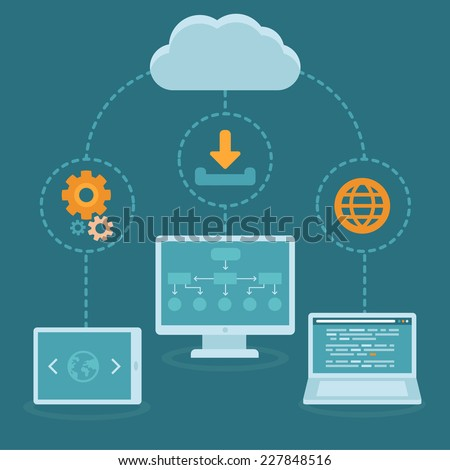 Vector SaaS concept in flat style - software as a service business model - cloud computing  - stock vector
