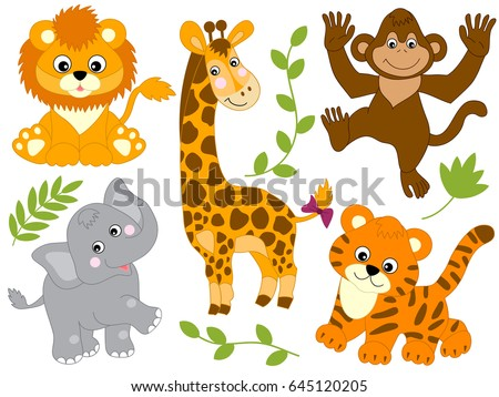 vector safari animals jungle baby animal stock vector 645120205 rh shutterstock com safari animal clip art free safari animals clipart