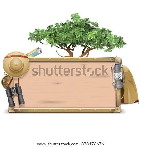 Vector Safari Wooden Board - stock vector