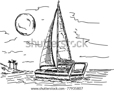 vector - Sailboat in sunset with island - stock vector
