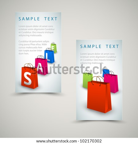 Vector sale banners with colorful paper shopping bags - stock vector