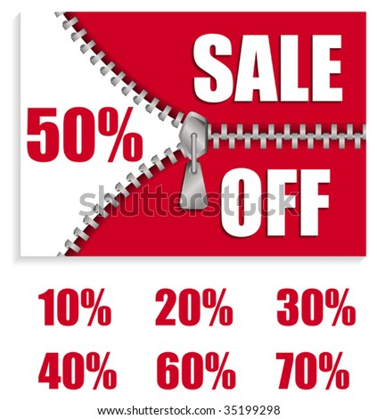 Vector sale board in red with zipper - stock vector