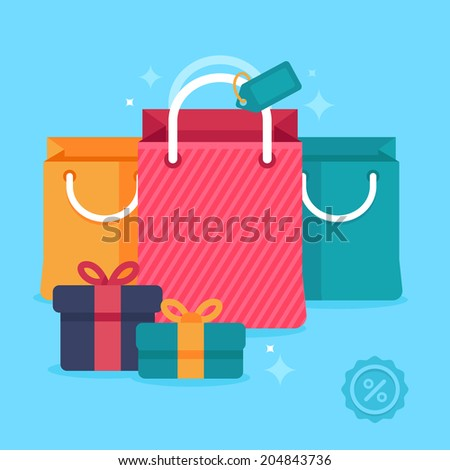 Vector sale concept in flat style - bright and trendy  icons - banners and website headers with shopping bags and price tags