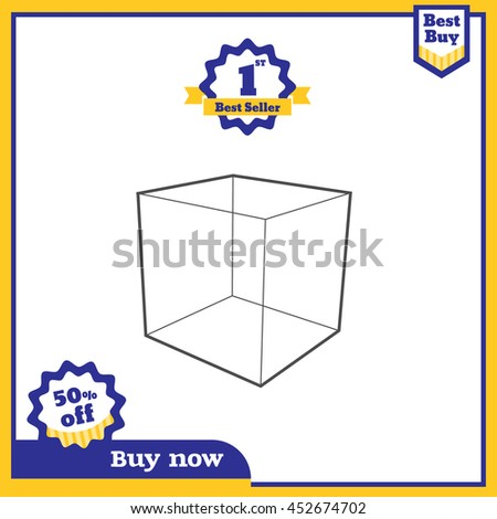 Vector,Sale in blue and yellow color promotion square banner mock up for social media or website advertising,Leave space for display of product - stock vector