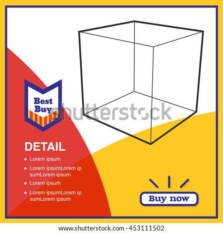 Vector,Sale in red and yellow color promotion square banner mock up for social media or website advertising,Leave space for display of product - stock vector