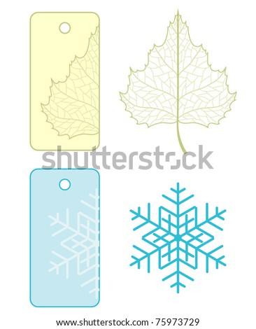 Vector sale label with seasonal decoration. - stock vector