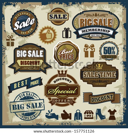 vector sale labels set, badges and icons - stock vector