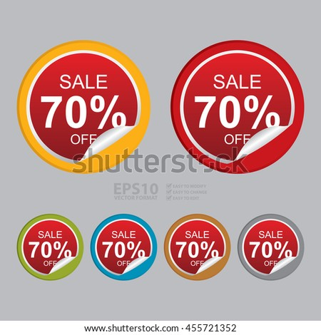 Vector : Sale 70% Off Promotion Label on Circle Peeling Sticker - stock vector
