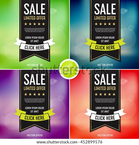 Vector sale poster design templates collection. Ribbon banner. Blurred bokeh background.  - stock vector