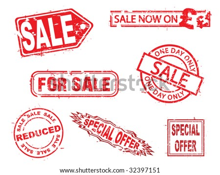Vector, sale rubber stamps series - stock vector