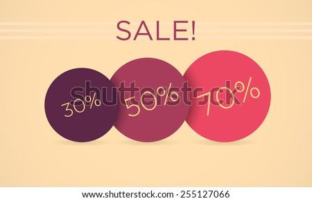 Vector sale tags with 30 �¢?? 70 percent discount  - stock vector