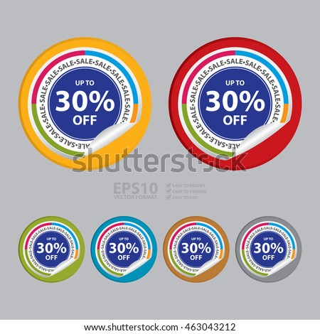 Vector : Sale Up To 30% Off Campaign Promotion Infographics Icon on Circle Peeling Sticker