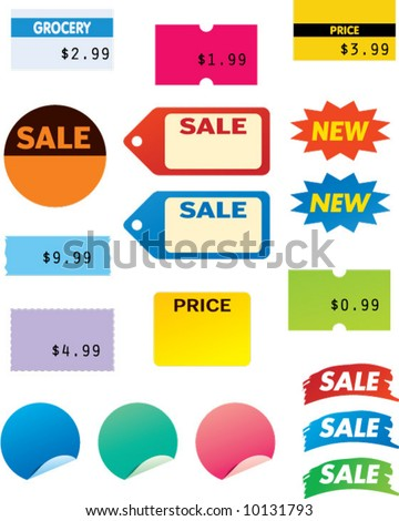 vector sales stickers - easy to edit! - stock vector