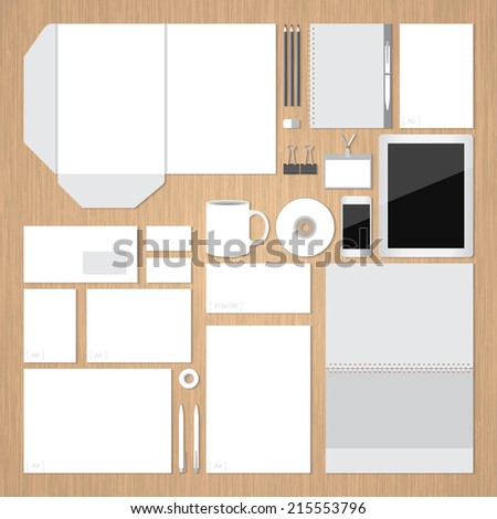 Vector. Samples for corporate identity design with wooden background. For graphic designers, presentations and portfolios. - stock vector