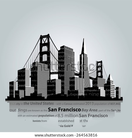 Vector. San Francisco city silhouette. - stock vector