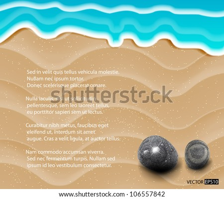 Vector sand background with stones and sea. - stock vector