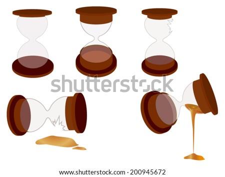 Vector sand clock objects, including broken ones - stock vector
