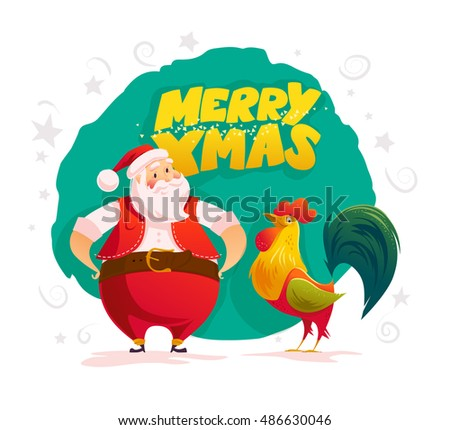 Vector santa and funny rooster characters portrait on white background. Cartoon style. New Year, merry christmas, xmas congratulation design element. Good for holiday card, banner, flayer, leaflet.